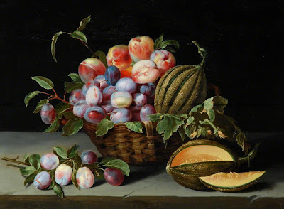 Linard Jacques -  Still life of Peaches, plums and melon