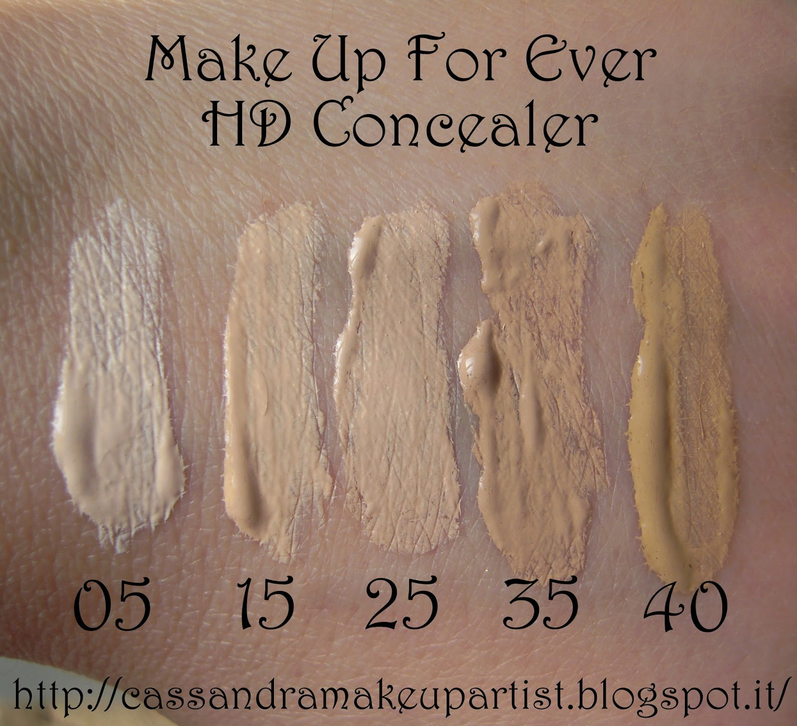 HD CONCEALER - MUFE - make up for ever - swatch - recensione - review - 05 - 15 - 25 - 35 - 40