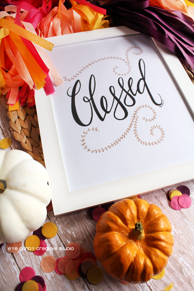 white pumpkin, tissue garland, blessed art, hand lettering, fall colors
