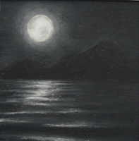 Moonlit Sea and Dark Mountains