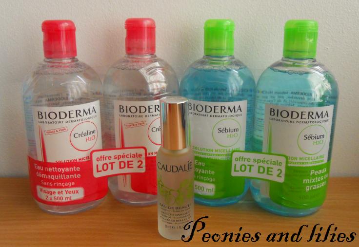 French pharmacie haul, Bioderma crealine H2O, Bioderma sebium H2O, Caudalie beauty elixir, French skincare