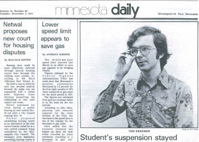 Thomas Kraemer on front page of University of Minnesota Daily newspaper, Dec. 3, 1974