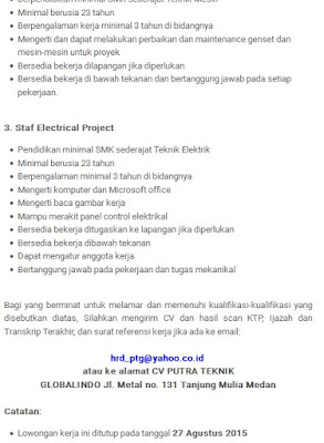 Lowongan Kerja SMA/SMK Medan CV Putra Teknik Globalindo ...