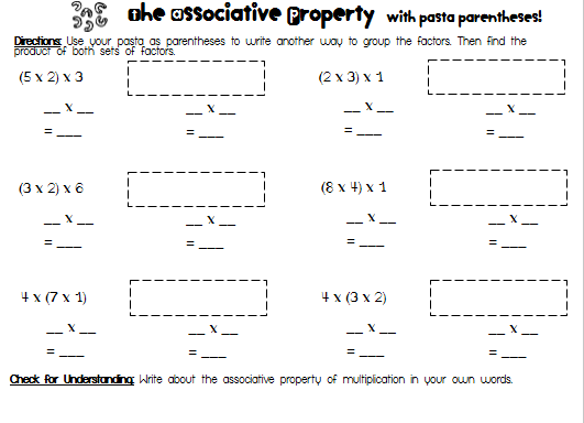 Elementary BROWNies Pasta Parentheses and a Freebie – Associative Property of Multiplication Worksheet
