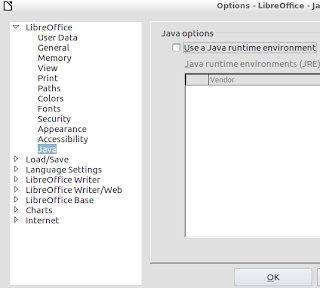 disable java in libreoffice