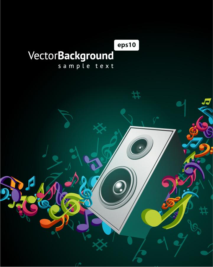スピーカーから音符が躍動する背景 color music key symbols イラスト素材