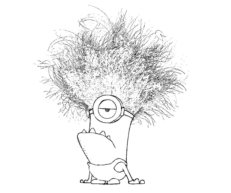 Printable Funny Minion With Bomb Exploded In His Hair Dania Rehman Minions Despicable Me Kids Coloring Pages