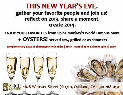 Spice Monkey New Year's Eve 2014 - Oyster Party Flyer
