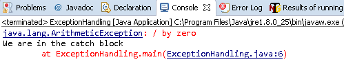 Divide by Zero Exception caught in Java