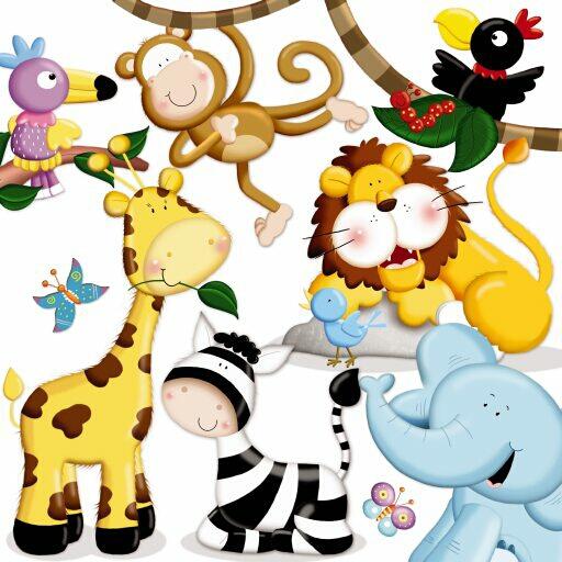 Figuras de animales de la selva bebés - Imagui
