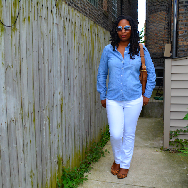 tory burch jeans worn with a denim shirt