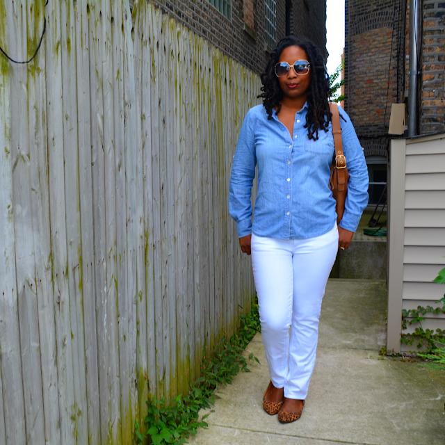 tory burch jeans worn with a denim shirt