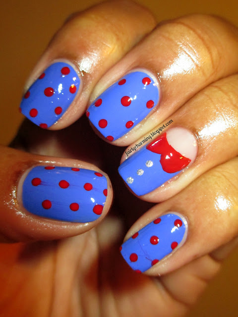 Julep, Taylor, January, Peter Pan collor, polka dot, red, blue, cobalt, nails nail art, nail design, mani