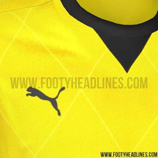 detail gambar render puma Detail Jersey Borrusia Dortmun home Liga Eropa musim 2015/2016