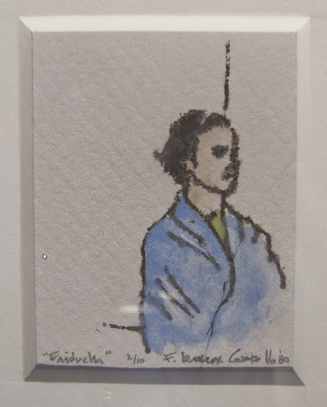 """Friducha"" by F. Lennox Campello,  Hand-colored stone lithograph, c. 1980, 2 x 1.75 inches. Edition of 10  Done as an assignment at the University of Washington School of Art"