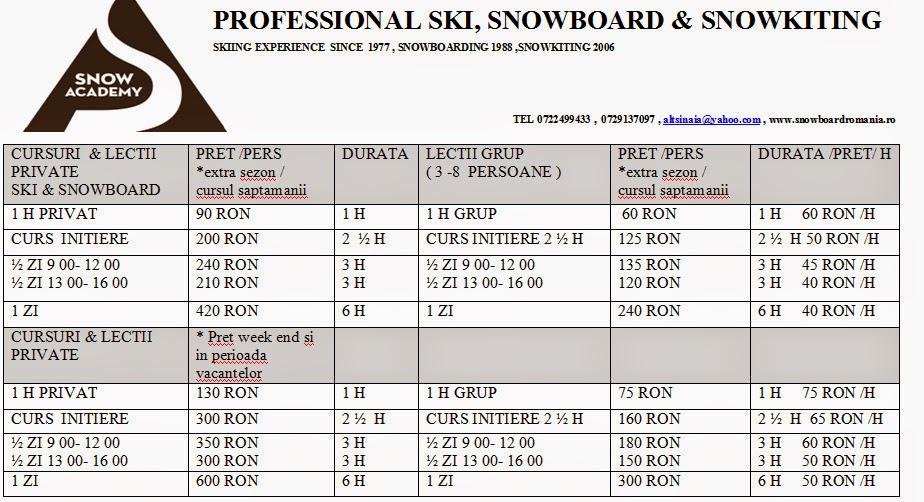 SCOALA DE SKI SI SNOWBOARD
