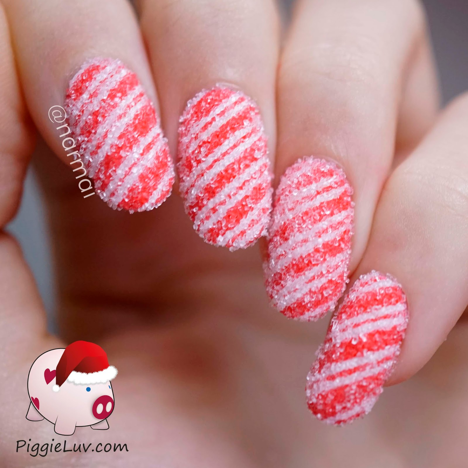 Piggieluv sugared candy canes nail art video tutorial i made this design using striping tape i thought it would look like candy canes but they actually remind me more of those peppermint cushion candies prinsesfo Choice Image