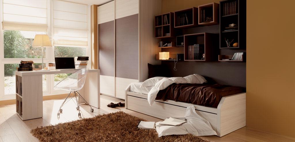 Dormitorios juveniles en colores arena for Mueble puente juvenil