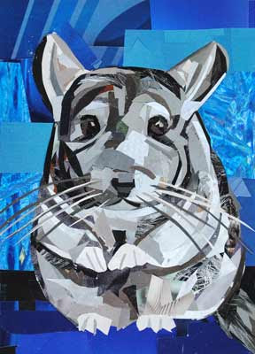 Fluffy the Chinchilla - Front by collage artist Megan Coyle