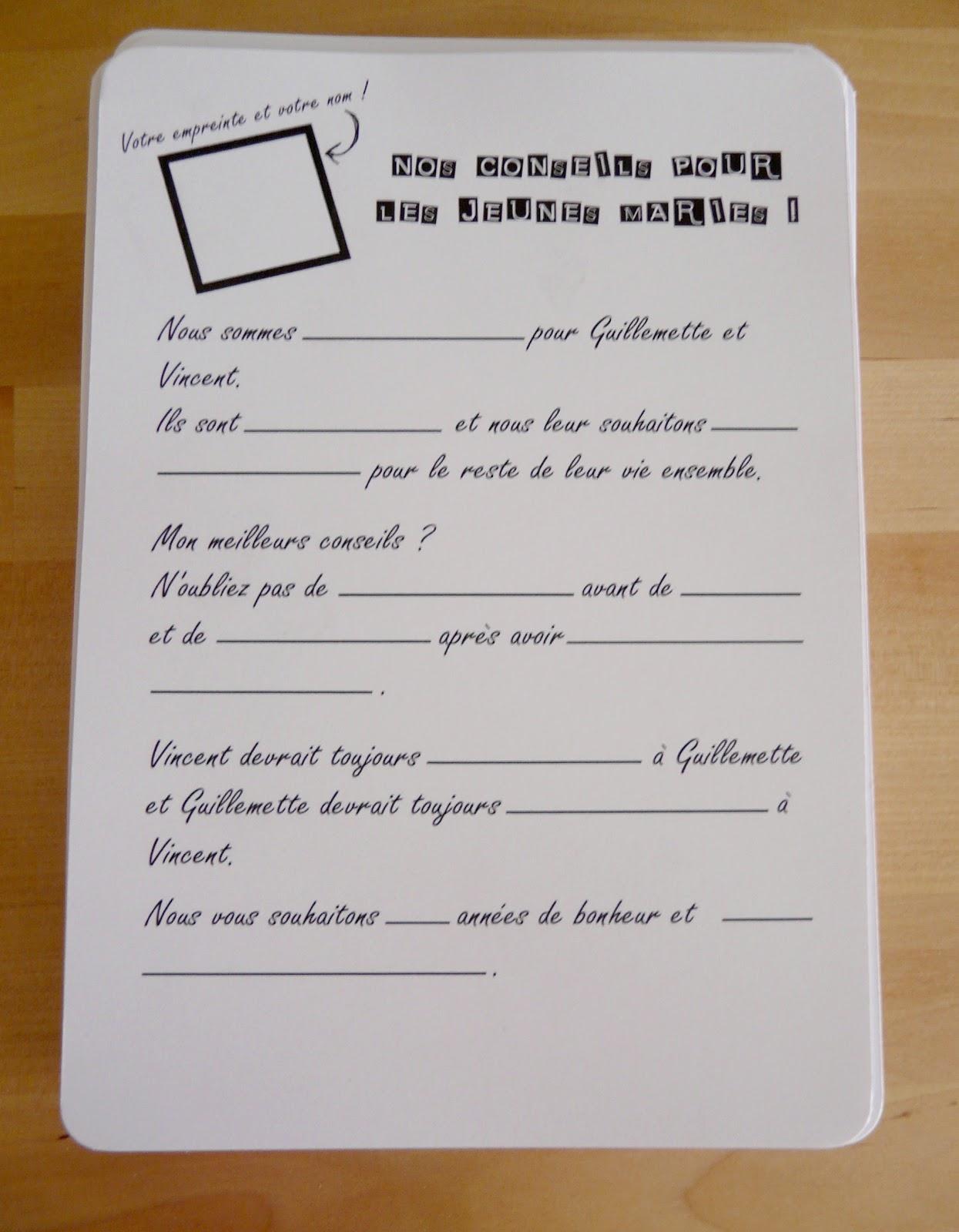 Invitation de mariage Libellé