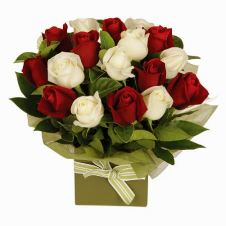 Red and White Rose Box Arrangement delivery in Australia