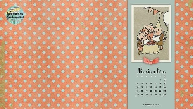 Fondo de escritorio calendario Noviembre ocho
