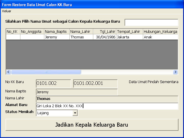 Form Entry KK Baru ambil dari data Mutasi Umat
