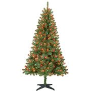 Pre-lit Multi-Color Lights 6.5 Feet Artificial Narrow Christmas Tree