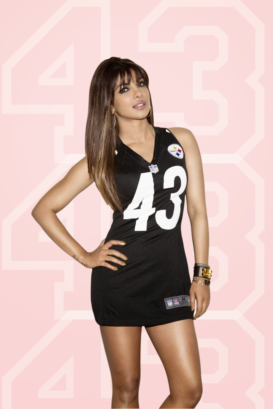 Priyanka Chopra in NFL Jersey No. 43