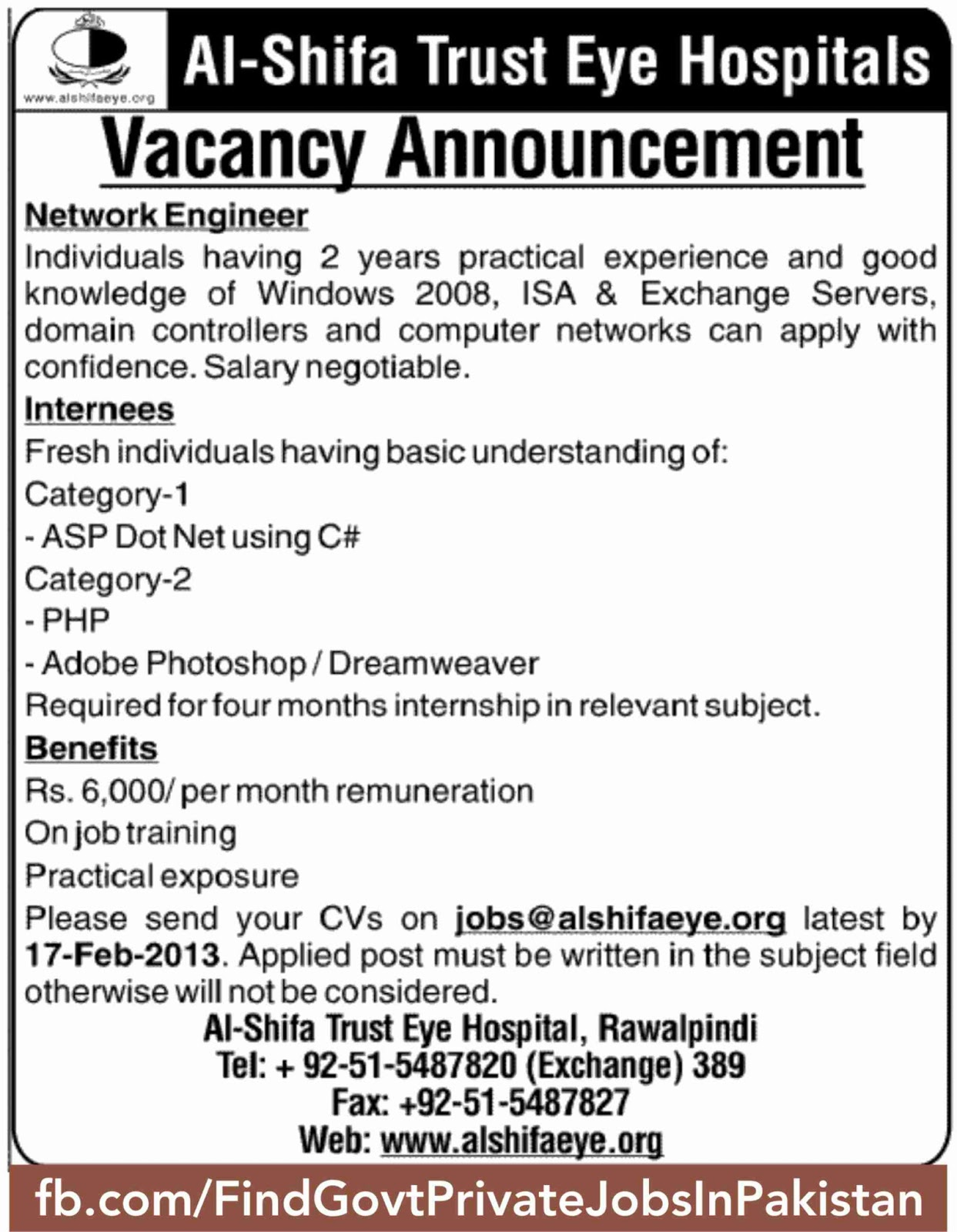 al-shifa eye hospital advertise job opportunity in jang sunday
