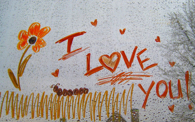Liefde achtergrond met de tekst I love you