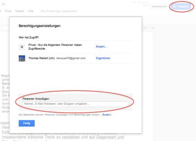 Screenshot der Berechtigungseinstellungen innerhalb von Google Docs