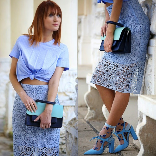 Zara 2014 SS Blue Midi Length Lace Skirt