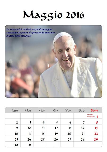 Calendario 2016 Papa Francesco - maggio - frasi celebri