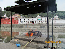 Hindu funeral pyre at Pashupatinath Temple, on the sacred Bagmati River, Kathmandu, Nepal