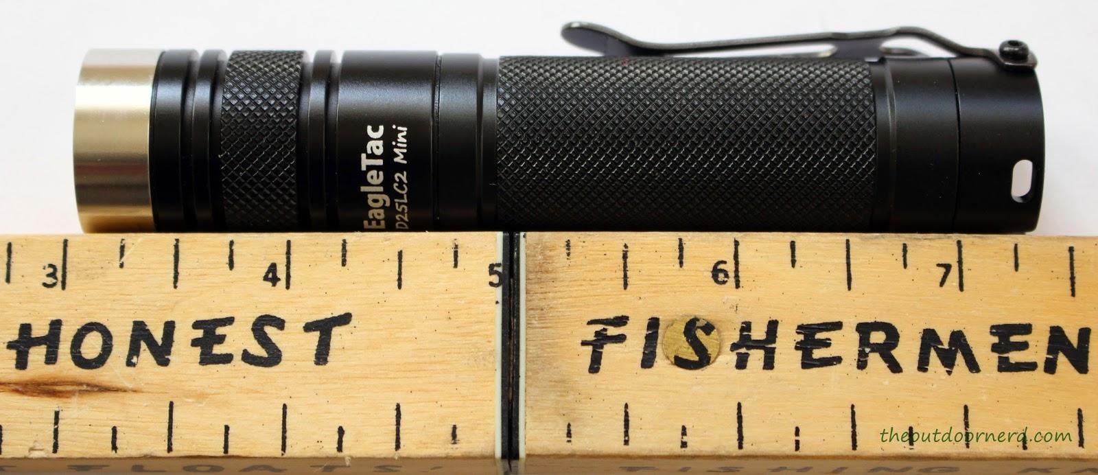 EagleTac D25LC2 Mini 18650 Flashlight Next To Ruler