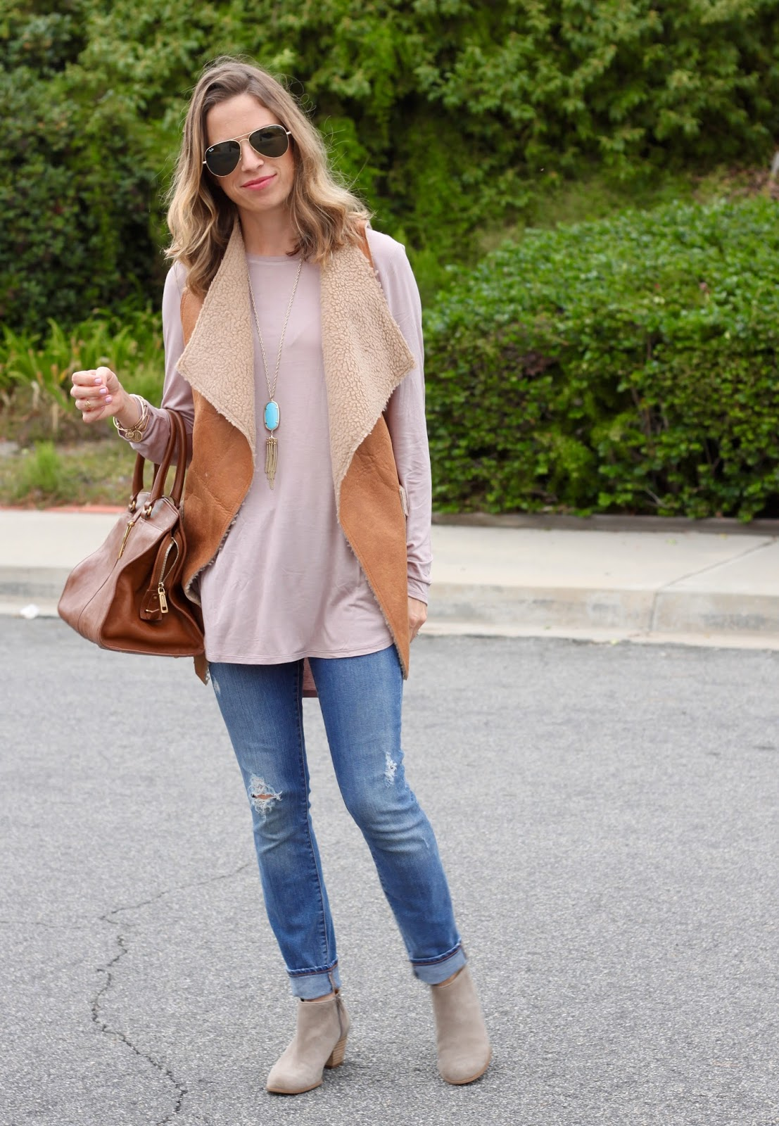 shearling vest and tunic