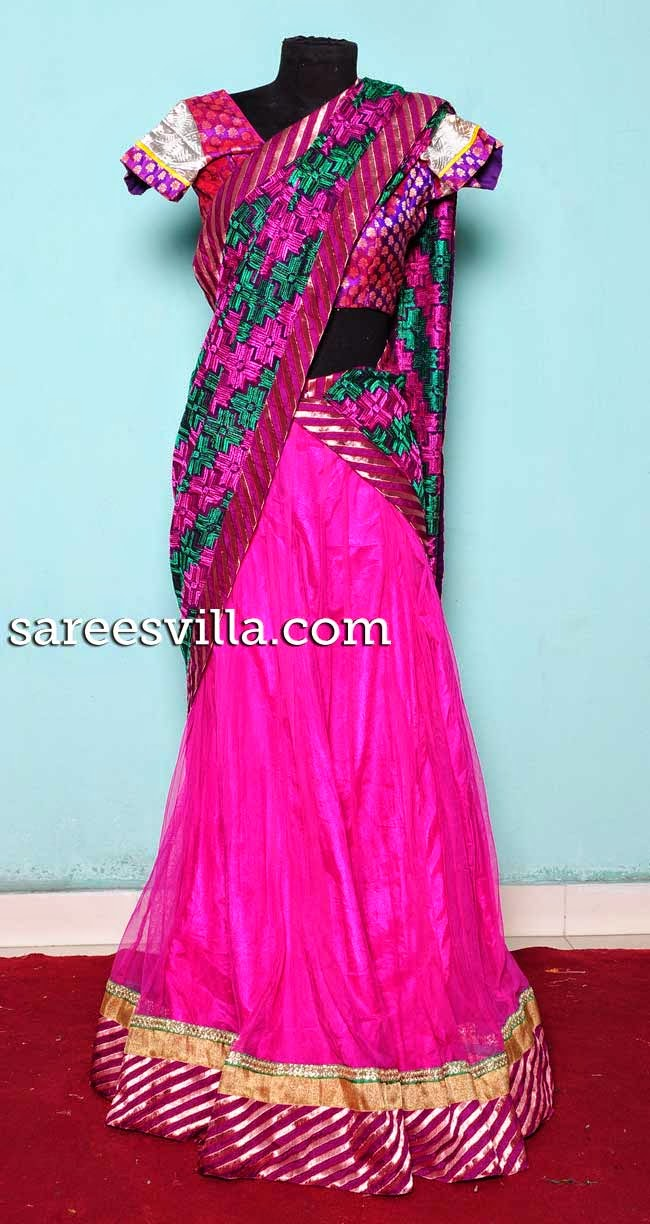 Pink netted half saree