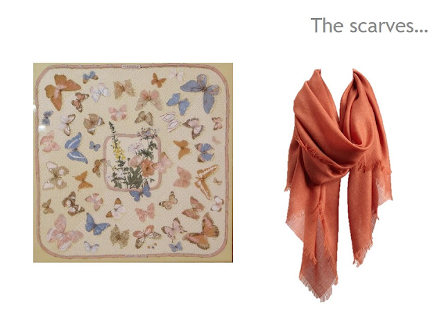 Two scarves in camel and terracotta, with blue accents
