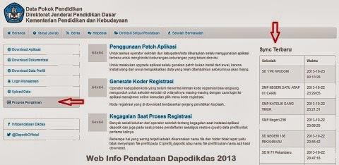dapodik sekolah, PTK, dan peserta didik di website info pendataan