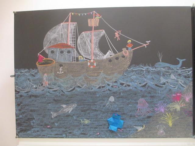 Schiff, piraten, unterwasserwelt, Südsee Insel im Kindergarten zeichnen