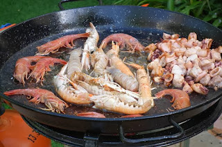 start fried 3 seafood paella recipe