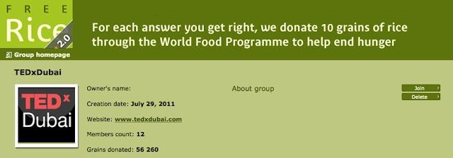 Get TEDx Dubai Admissions Through FreeRice