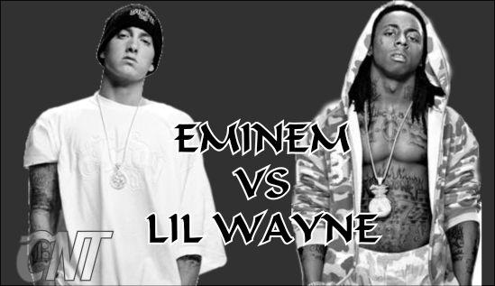 Eminem on stage with Lil Wayne