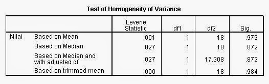 Homogenitas Independen T Test