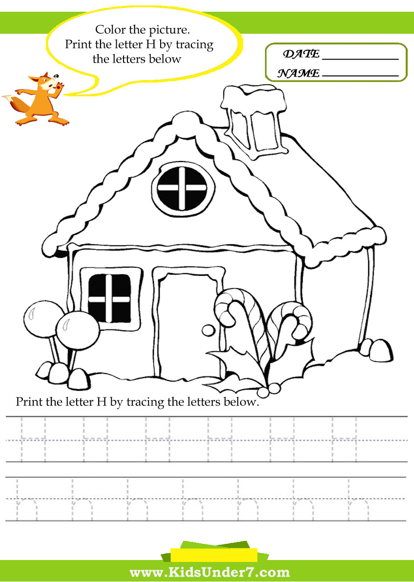 Kids Under 7: Alphabet worksheets.Trace and Print Letter H