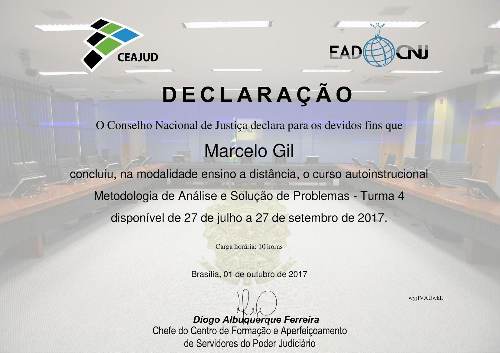 DECLARAÇÃO DO CONSELHO NACIONAL DE JUSTIÇA CONCEDIDO À MARCELO GIL / 2017