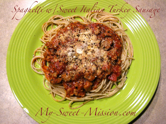 Sweet Italian Turkey Sausage in a savory sauce, served over whole ...