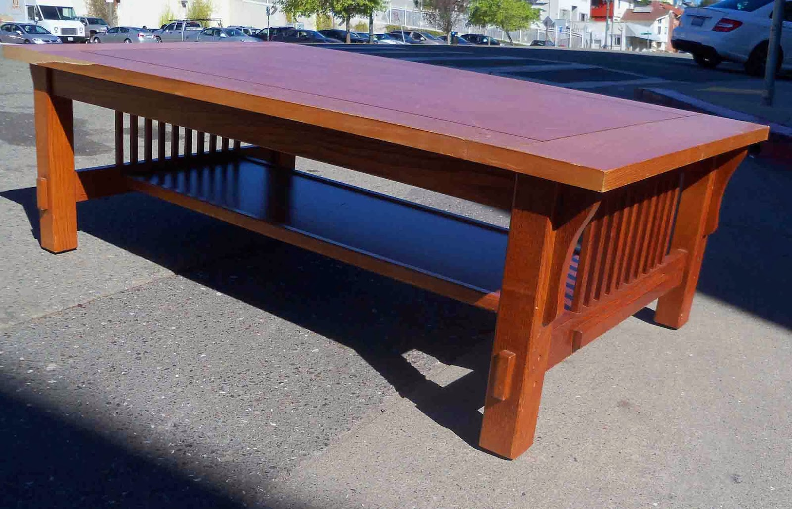 Uhuru Furniture Collectibles Sold Glass Top Mission Style Coffee Table 55