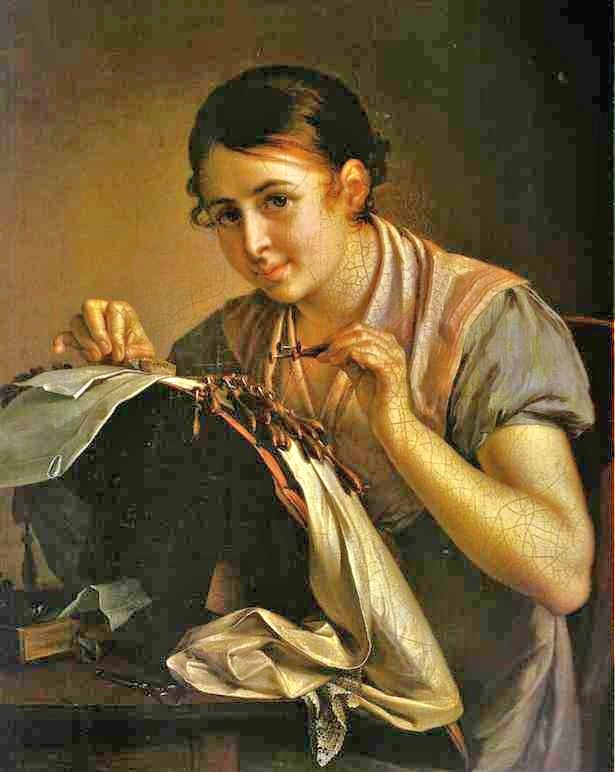 Vasily tropinin russian artist 1776 1857 gold embroideress 1826